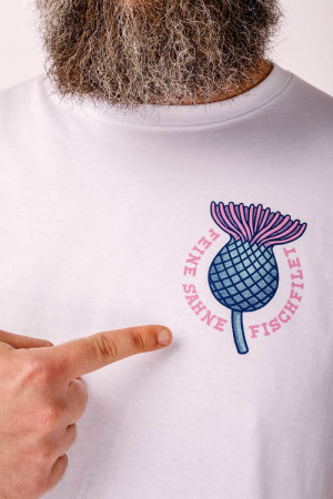 T-Shirt Distel im Beton Weiß Unisex